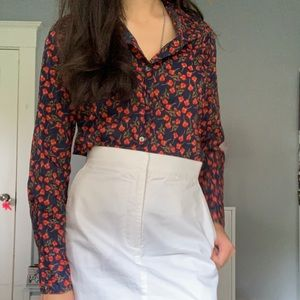 J.crew Red/Navy Floral Collared Button down top